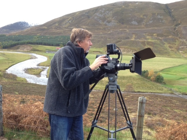 Here I am filming some of the very fine local scenery at about 9am this morning ( Thursday ) in chilly conditions, but nothing I can't handle after a stout Scottish breakfast - like the full English variety, with haggis in place of black pudding and a porridge course.