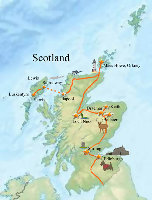 Scottish trip map Harris