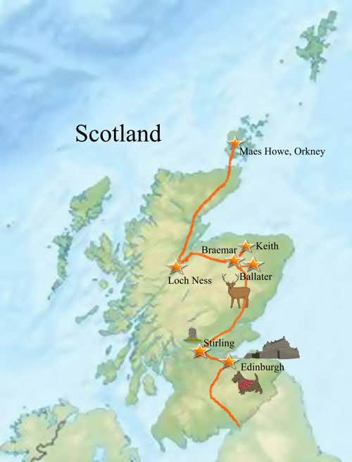Scottish trip map Maes Howe, Orkney