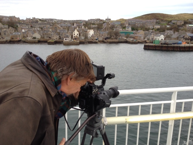 Andy filming our arrival in Stromness
