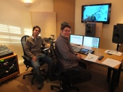 Mohamad Susilo and Richard Sillito working on the Indonesian voice over track at ACE Post Production