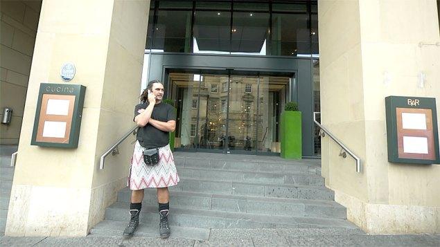 A Missoni Hotel doorman sporting a modern kilt