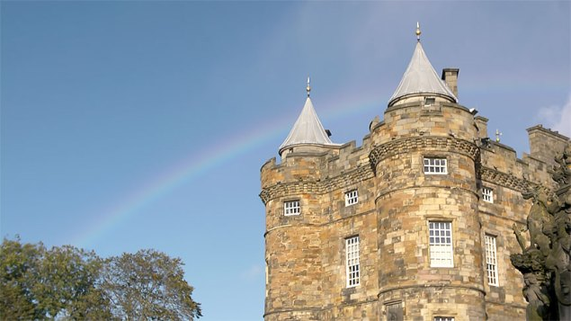 Holyrood Palace with rainbow.