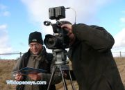 Wild Open Eye's filming team, Andy Luck and Jerry Short testing settings on the Panasonic AF 101
