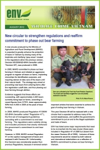 Front cover of ENV Wildlife Crime Bulletin August edition