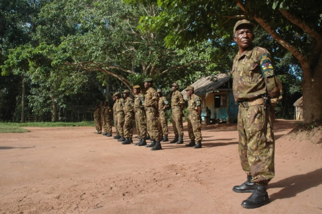 Ecoguards from the ministry of Forests, working in the Dzanga Sanga National park headquarters in Bayanga.