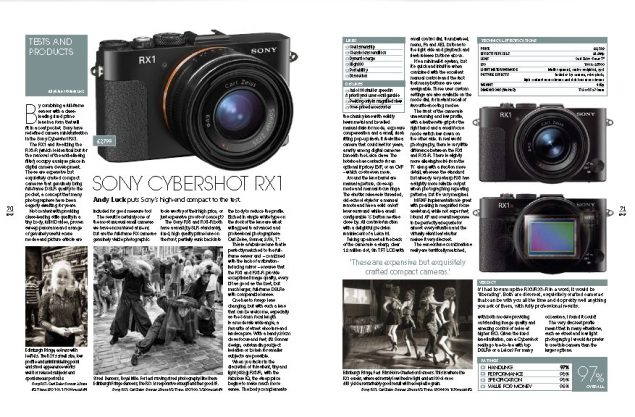 Formidable Sony RX1 Cybershot reviewed in Black+White Photography, Winter 158 issue