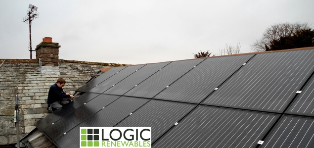 Community energy strategy includes support for projects such as solar Photo-Voltaic Panels for social housing. Panels like these, being installed by Logic Renewables, generate electricity and revenue from sunlight
