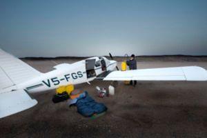 Paul van Schalkwyk's equipment beside his light aircraft