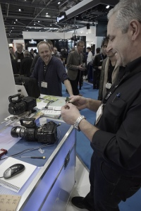 Leo Napoll of Sony Pro Support with the new chip that will allow our FS700 to output 4 k