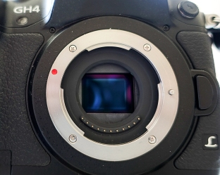 There is a very shallow distance from the lens mount flange to the sensor on this mirror less Panasonic GH4