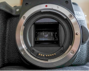 Canon's latest D760 is a DSLR with conventional mirror box and the sensor is much further away from the lens flange, but thanks to the mirror, a true image is seen in the optical viewfinder.