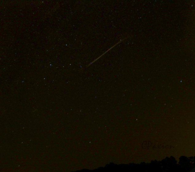 Perseid Meteor streaking out of the Cassiopeia region on Aug 12th 2015. They will be visible in decreasing numbers throughout the second and third week of August apparently.
