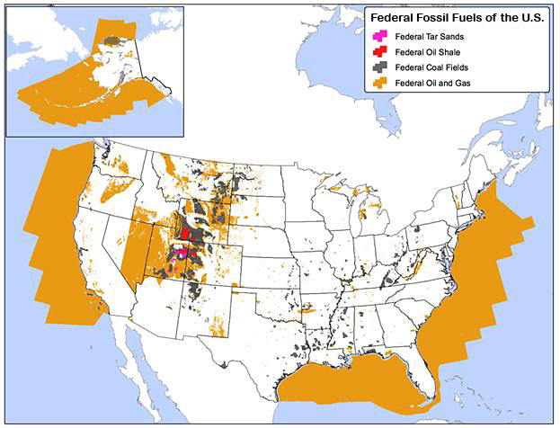 Federal fossil fuels of the United States. Map by Curt Bradley, Center for Biological Diversity.