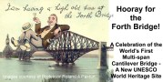 Cartoon man resting on the Forth bridge having a high old time