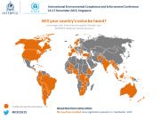Map of the world showing countries registered for the Interpol conference in Singapore. The text reads 'Will your country's voice be heard at the International Environmental Compliance and Enforcement Conference held in Singapore on Nov. 16th and 17th, 2015?'