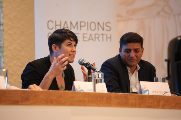 Doctor of Change, Dr.Leyla Acaroglu speaking at the UN Champions of The Earth meeting. UN image and copyright.