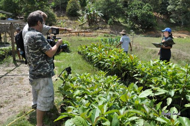 Andy Luck and Jerry Short filming a UNDP funded rainforest tree nursery in Sabah, Borneo.
