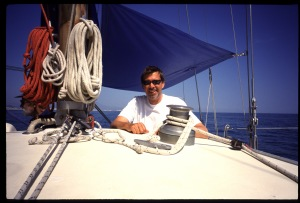 Andy Luck in a sailing boat.