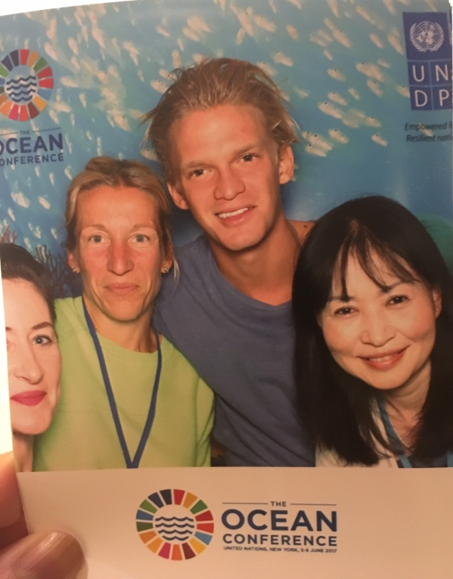 Cody Simpson with UNDP personnel in New York