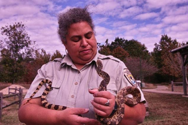 Louisiana Pine Snake with award winning environmental educator, Ranger Nova Clarke