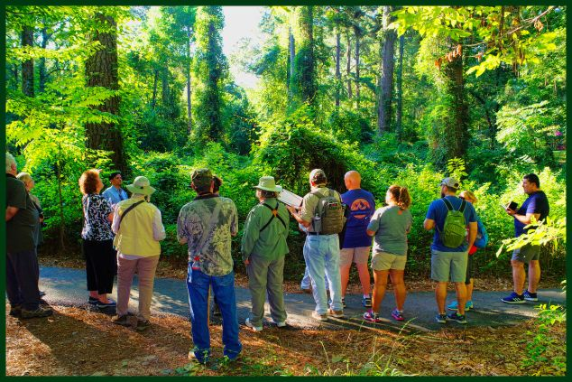 Dr. Joydeep Bhattercharjee describing the phenomenon of arrested succession in forest development to Louisiana Master Naturalists Northeast, illustrating his point with a vine-clad forest clearing. C. Paxton