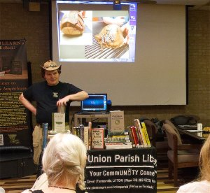 Micah Petty, President of Louisiana Exotic Animal Rehabilitation Network addressing Louisiana Master Naturalists Northeast on the subject of Wildlife Rehabilitation at Union Parish Library August 28, 2018