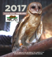 Cover image of the ARCAS 2017 annual report with an image of a rescued Barn owl.