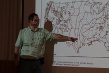 Dr. Patterson explaing trends in precipitation levels. Climate change is noticeable in various ways, drying in the central portion of the US is gradually spreading eastwards.