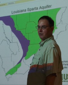 Professor Patterson explaining the Sparta watershed.