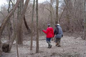 Members of our workshop exploring for mammal sign in The Russell Sage Wildlife Management Area in Monroe.
