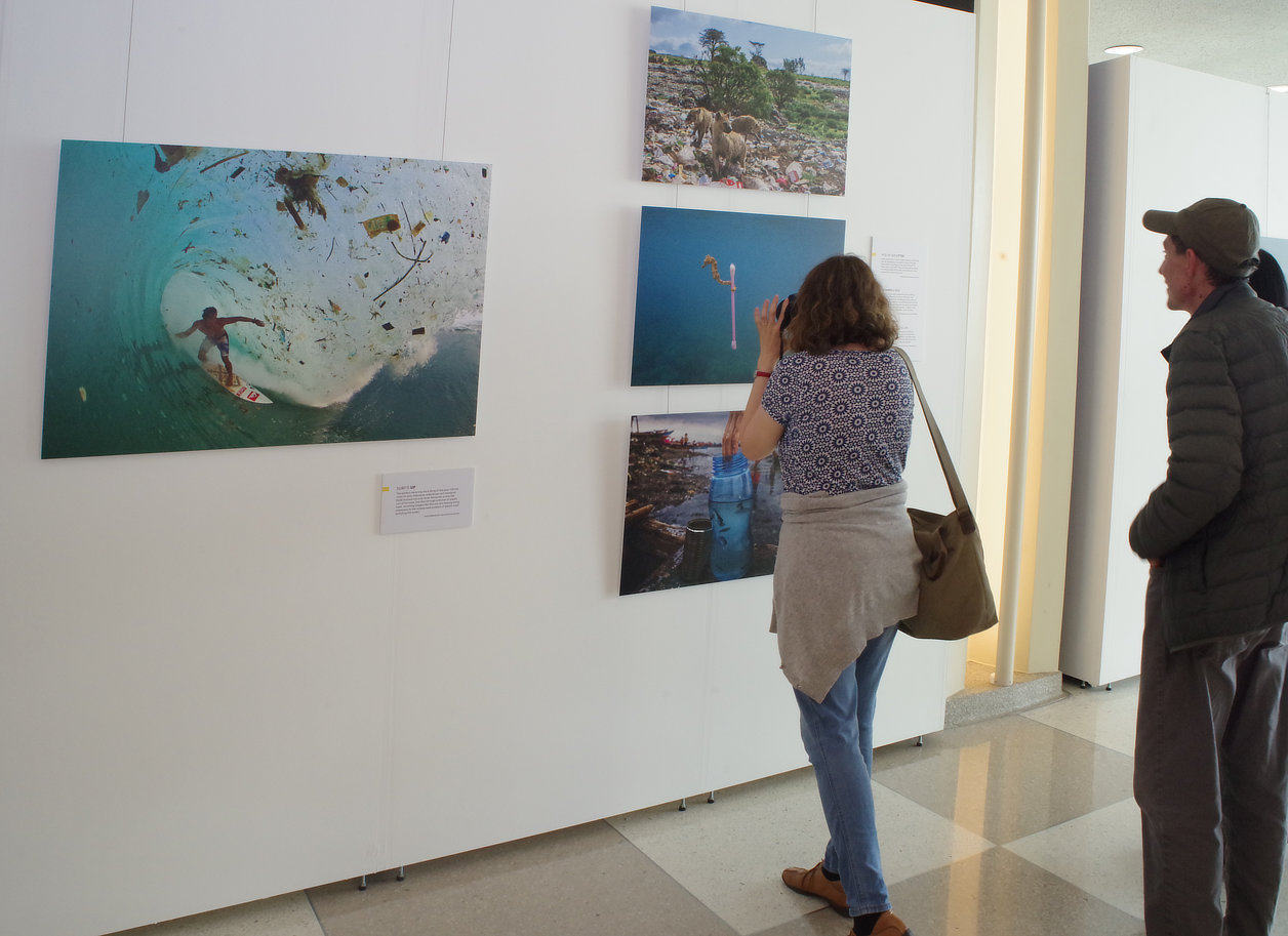 Surfing through tubes of green water and one-time use plastic debris, a minute seahorse clings to a plastic earbud — visitors impressed by lasting images of the 'disposable' plastic pollution in our oceans in today's Anthropocene period courtesy of the National Geographic and The United Nations in the United Nations Building.