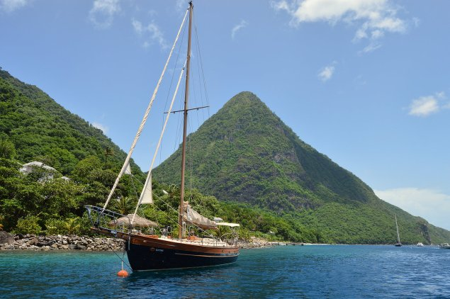 A yacht off St Lucia's Soufriere Bay. Image by Christopher Cox.