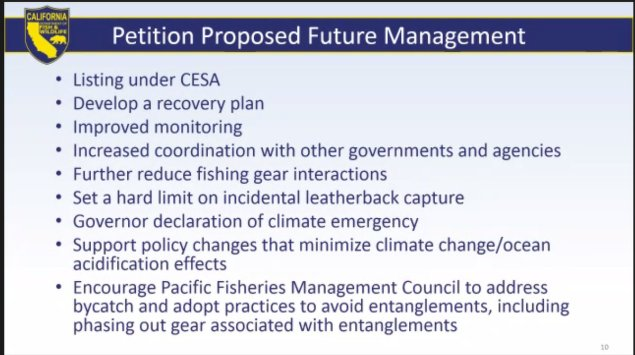 Proposed future management petition from Turtle Island Restoration